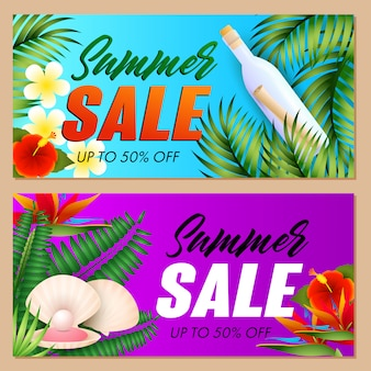 Summer sale letterings set, sea shell and bottle with scroll
