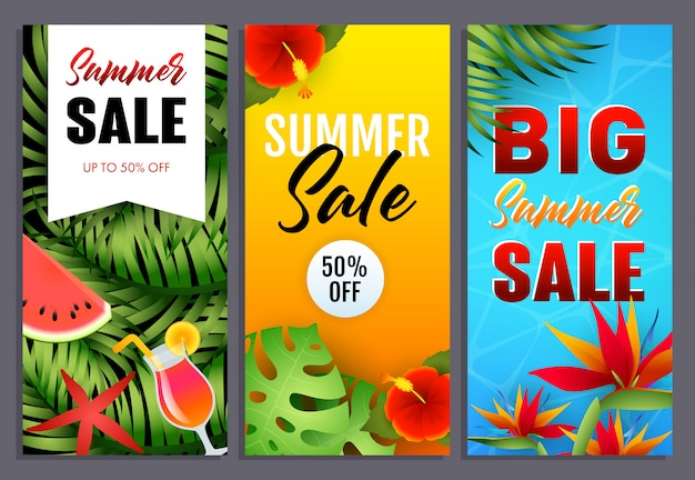 Summer sale letterings set with tropical leaves and flowers