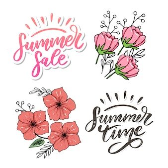 Summer sale. letters made of flowers and leaves summer time