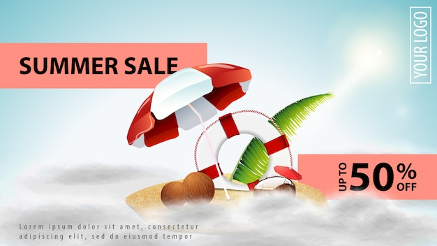 Summer sale, light discount web banner template