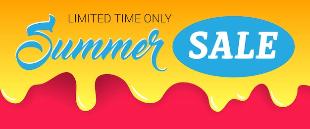 Summer sale, limited time only lettering on dripping paint.