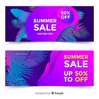 여름 판매 액체 모양 배너