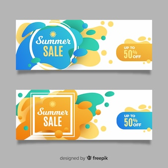 Summer sale liquid shape banners