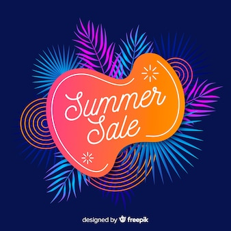 Summer sale liquid shapes and tropical leaves background