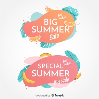 Summer sale liquid shapes and tropical leaves banner