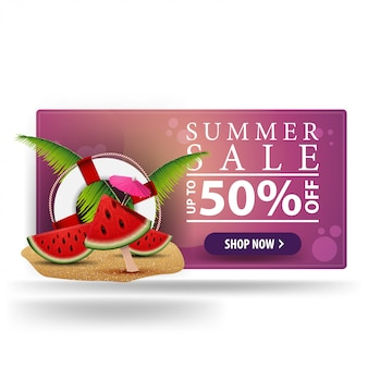 Summer sale, modern 3d volumetric banner for your creativity