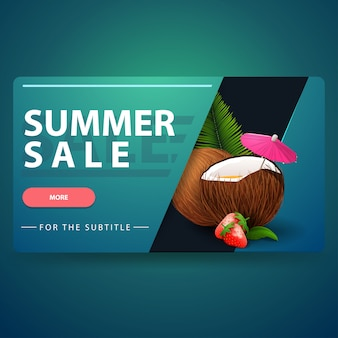 Summer sale, modern 3d volumetric web banner