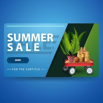 Летняя распродажа, современный синий 3d объемный веб-баннер с модным дизайном