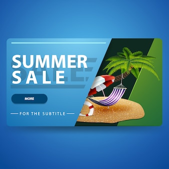 Летняя распродажа, современный синий 3d объемный веб-баннер