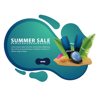 Summer sale, modern discount banner in the form of smooth lines for your business