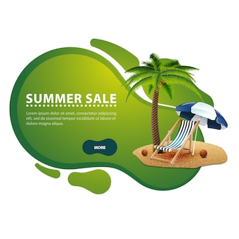 Summer sale, modern discount banner in the form of smooth lines