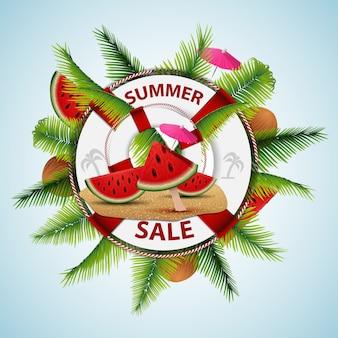 Летняя распродажа, современный дисконтный баннер в виде спасательного круга с морским декором