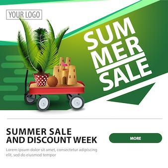 Summer sale, modern stylish square web banner template for advertising and promotion of your business
