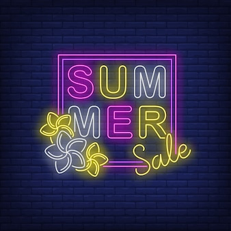 Summer sale neon text in frame with flowers