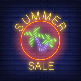Summer sale neon text and palms in circle. seasonal offer or sale advertisement