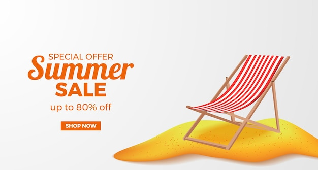 Summer sale offer banner promotion with illustration of folding seat chair relax on the sand beach island