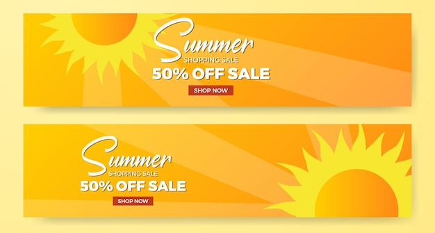 Summer sale offer banner promotion with sun