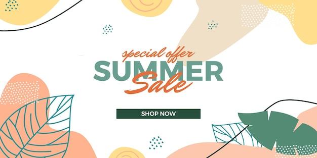 Летняя распродажа предлагает продвижение баннера с тропическими абстрактными листьями, украшение орнамента мемфис