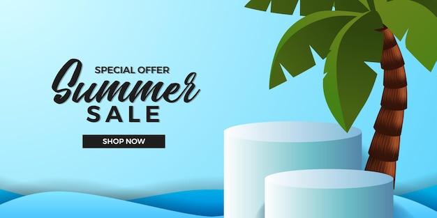 코코넛 나무가있는 3d 실린더 연단 제품 디스플레이가있는 여름 판매 제공 배너 템플릿