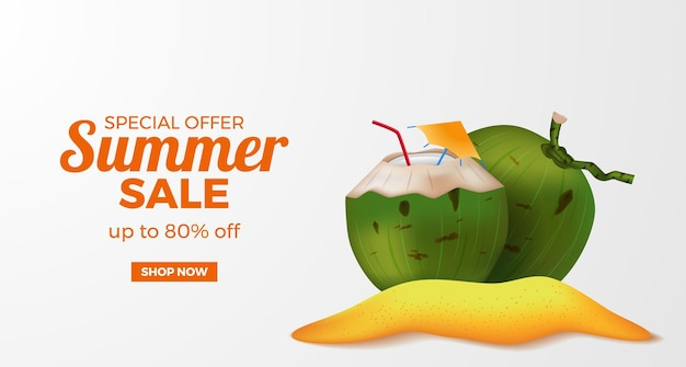 Summer sale offer banner template with 3d realistic green coconut drink on the sand beach island