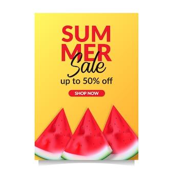 Summer sale offer banner tropical fruit
