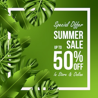 Summer sale offers banner design with leaves background