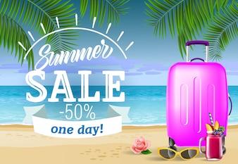 夏の販売、海のビーチとスーツケースと1日のレタリング。サマーオファー