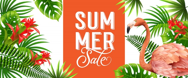 Summer sale orange banner with palm leaves, red tropical flowers and pink flamingo.