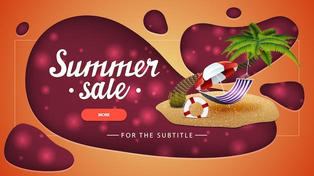 Summer sale, orange discount banner with modern design