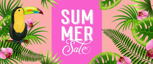 Summer sale pink banner with palm leaves, tropical flowers and toucan bird.