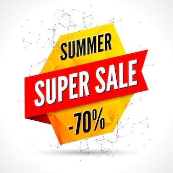 夏のセールの多角形のバナーデザインテンプレートです。販売広告バナー