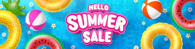 Summer sale poster and banner template with colorful float on water in the tiled pool background