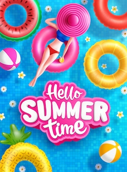 Summer sale poster and banner template with women on round pool floats in the tiled pool background