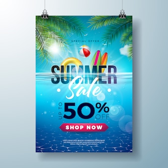 Summer sale poster design template with beach holiday elements and exotic leaves