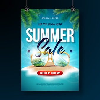 Summer sale poster design template with exotic palm leaves and sunglasses