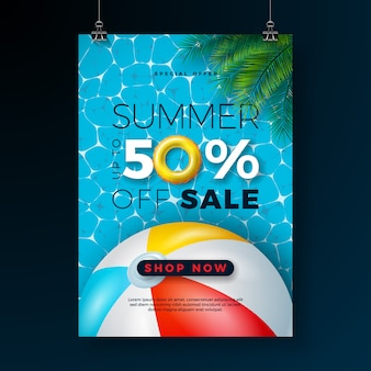 Summer sale poster design template with float and beach ball