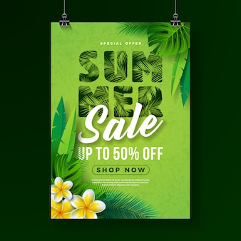 Summer sale poster design template with flower and exotic palm leaves
