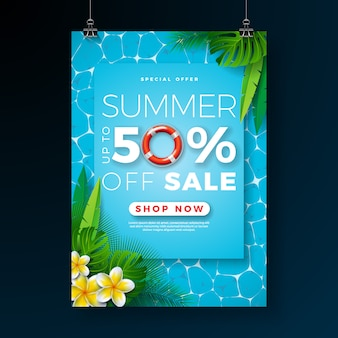 Summer sale poster design template with flower and palm leaves on pool background
