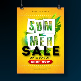 Summer sale poster design template with tropical palm leaves and typography letter