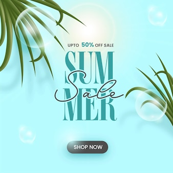 Summer sale poster design with 50% discount offer and leaves on sunshine blue background.