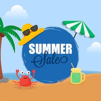 해변 배경에 모자, 고글, 만화 게, 항아리, 우산, 코코넛 나무와 여름 판매 포스터 디자인.