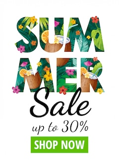 Summer sale poster. special offer flyer for fashion, cosmetic, restaurant, bar, health care ad. logo with tropic exotic leaves, coconut cocktail drink. hand drawn illustration
