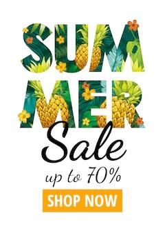 Летняя распродажа постер. специальное предложение флаер для моды, косметики, рекламы здоровья, гавайская вечеринка. логотип с тропическими экзотическими листьями, ананасовыми ананасами. рисованная иллюстрация