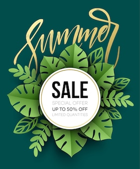 Summer sale poster. tropical leaf. paper cut style.