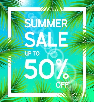 Summer sale poster up to 50 percent off with palm leaves