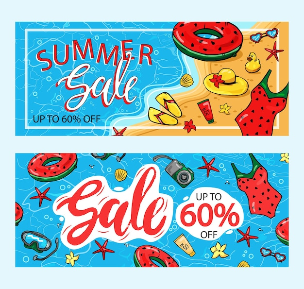 Summer sale poster with 60% discount. text and summer elements to promote the store's marketing.