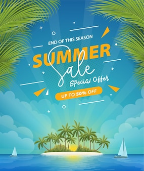 Summer sale poster with beach scenery