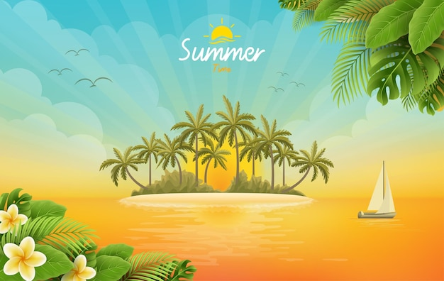 Summer sale poster with beach scenery Premium Vector