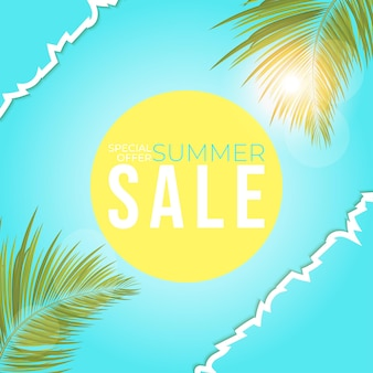 Summer sale poster with leaves palm  summer banner for promotion