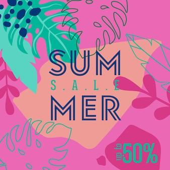 Плакат летней распродажи с тропическими листьями и цветами, рекламный баннер и тропический фон в современном плоском стиле, весеннее специальное предложение, рекламный плакат, флаер. векторная иллюстрация